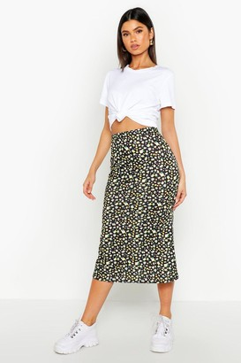 boohoo Ditsy Floral Fit & Flare Midi Skirt