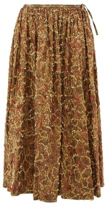 Ashish Sequinned Brocade Midi Skirt - Gold