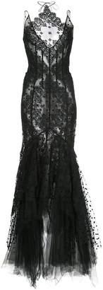 Oscar de la Renta lace embroidered evening gown