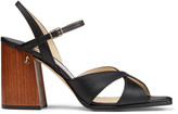 Jimmy Choo JOYA 85 Black Vachetta Leather Block-Heel Sandals with JC Emblem
