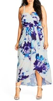 City Chic Plus Size Women's Blue Bloom High/low Maxi Dress