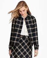 Brooks Brothers Windowpane Wool Boucle Swing Jacket