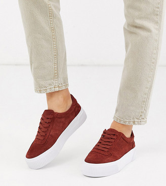 Asos DESIGN Wide Fit Depart suede chunky trainers in rust