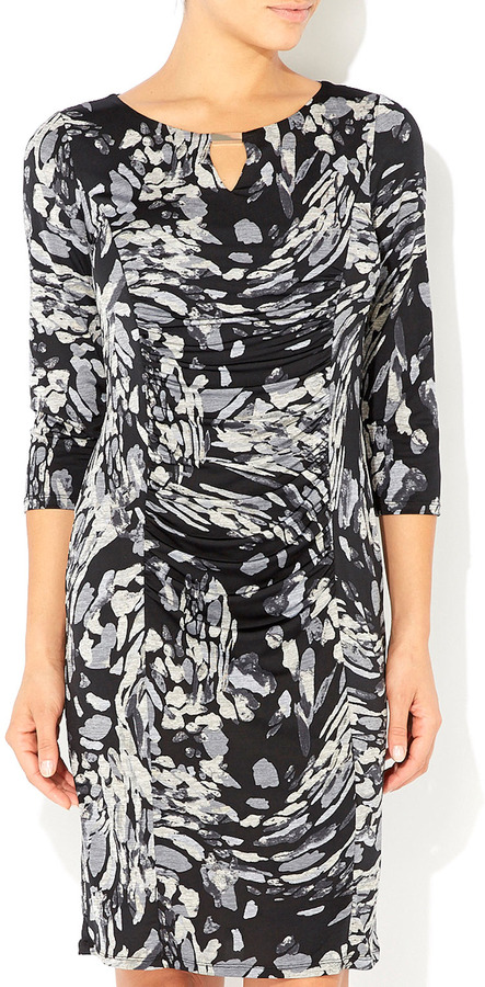Wallis Grey Printed Ruche Front Dress