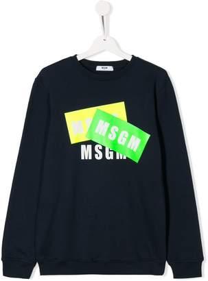 MSGM Kids TEEN logo tape print sweatshirt