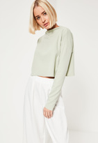 Missguided Green Crepe Wide Neck Crop Top