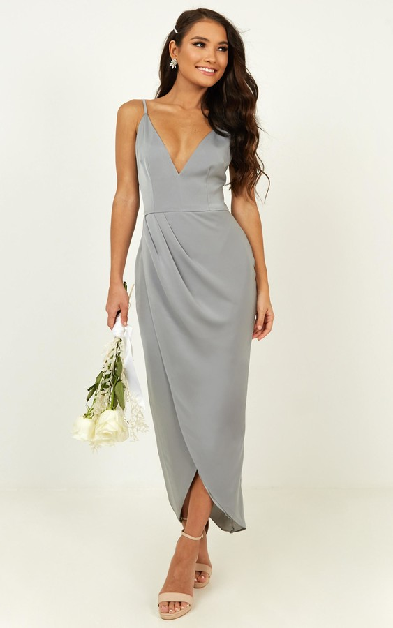 Showpo Shes a dreamer dress in dusty blue - 6 (XS) Bridesmaid