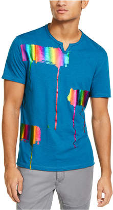 INC International Concepts Inc Men Iridescent Brushstroke Graphic Split-Neck T-Shirt