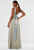 Missguided Sleeveless Low Back Bow Maxi Bridesmaid Dress