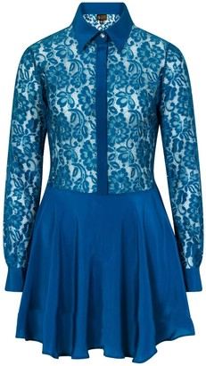 Sophie Cameron Davies Teal Lace Silk Dress