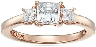 Swarovski La Lumiere Rose Gold-Plated Sterling Silver Zirconia 1 cttw Princess 3 Stone Ring L1/2