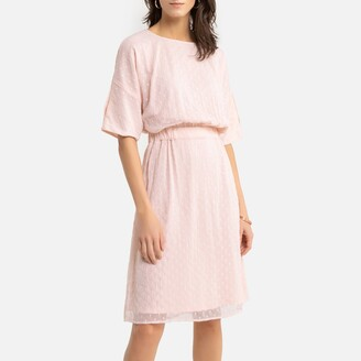 Anne Weyburn Draping Dotted Swiss Dress in Mid-Length with Elbow-Length Sleeves