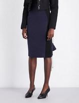 Antonio Berardi Mesh-panel fitted high-rise cotton skirt