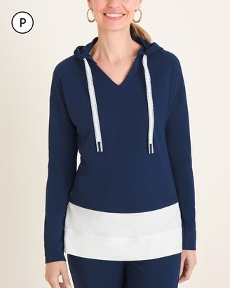 Zenergy Petite Colorblocked Hooded V-Neck Pullover Top