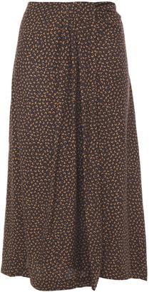 Vince Wrap-effect Printed Silk-blend Twill Midi Skirt