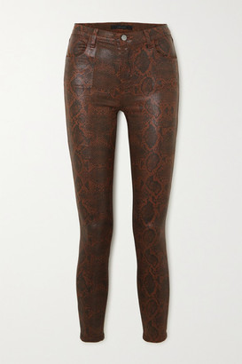 J Brand Alana Cropped Snake-effect High-rise Skinny Jeans - Brown