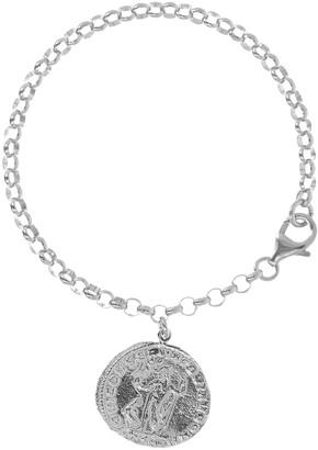 "Italian Silver 7"" Coin Charm Bracelet"
