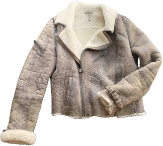 Ash Grey Leather Coat for Women