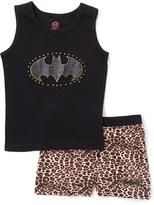 Intimo Black Leopard Batgirl Tank Set - Girls
