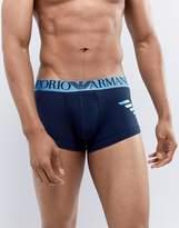Emporio Armani Trunks With Large Metallic Logo In Navy