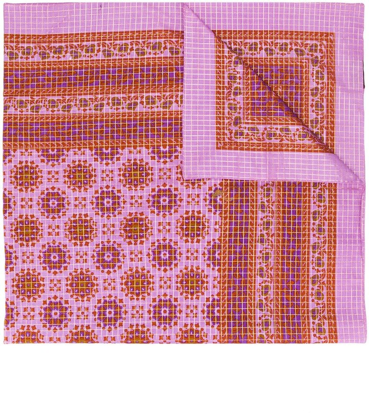 Yves Saint Laurent Pre Owned Check And Paisley Print Shawl