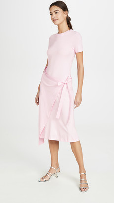 Rosetta Getty Short Sleeve Apron Wrap T-Shirt Dress