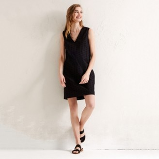 The White Company Cotton Broderie V-Neck Shift Dress, Black, 8