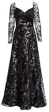 Rene Ruiz Collection Women's Embroidered Long Sleeve Gown