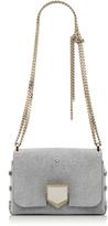 Jimmy Choo LOCKETT PETITE Silver Glitter Stingray Shoulder Bag