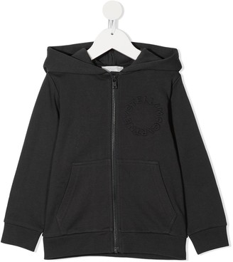 Stella McCartney Kids Zip-Up Logo Embroidered Hoodie