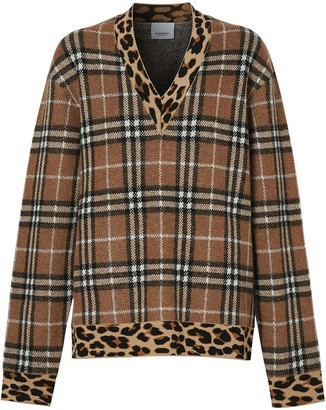 Burberry Vintage Check leopard-trimmed sweater