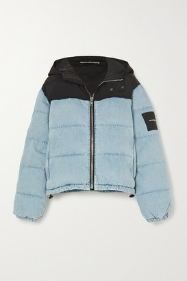 Alexander Wang Puffer Hybrid Hooded Quilted Padded Denim And Shell Jacket - Light blue