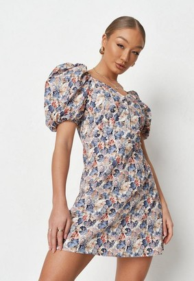 Missguided Blue Floral Print Puff Sleeve Skater Dress