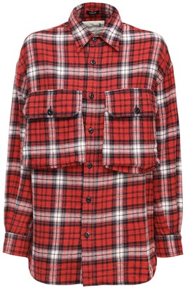 R 13 Oversize Flannel Shirt W/Cargo Pockets