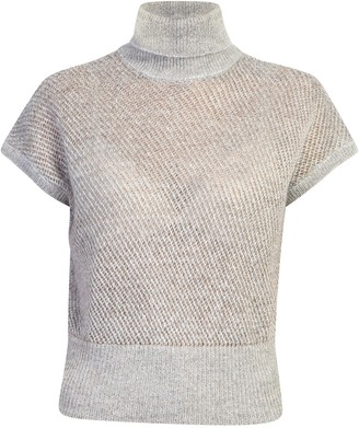 Brunello Cucinelli Short Sleeved Turtleneck Open Knit Pullover