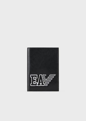 Emporio Armani Travel Essential Leather Passport Cover With Ea Patch