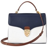Aspinal of London Mayfair Bag In Smooth Blue Moon Snow White Croc Mix