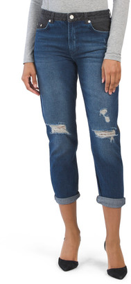 Two Tone Cuffed Denim Distressed Jeans