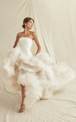 Oscar de la Renta Bridal Hand Embroidered Silk Organze Feather Gown