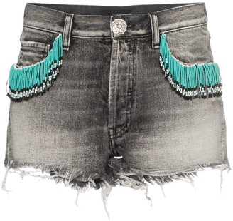Alanui Fringed Denim Shorts
