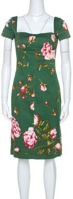 Valentino Green Floral Print Cotton Button Detail Short Dress M