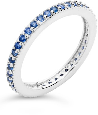 Sterling Forever Sterling Silver CZ Eternity Band Ring - Light Sapphire