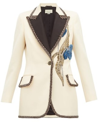 Gucci Embroidered And Embellished Wool Blazer - Womens - Ivory Multi