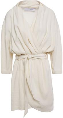 IRO Lilya Wrap-effect Linen And Silk-blend Mini Dress