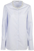 Ermanno Scervino Embellished Neck Striped Shirt