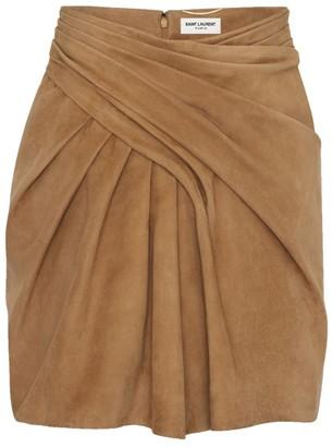 Saint Laurent Gathered Leather Mini Skirt