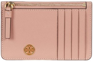 Tory Burch Robinson Top Zip Card Case (Pink Moon) Handbags