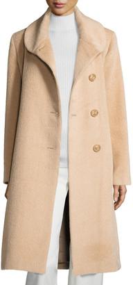 Sofia Cashmere Round-Collar Button-Front Midi Suri Alpaca Coat