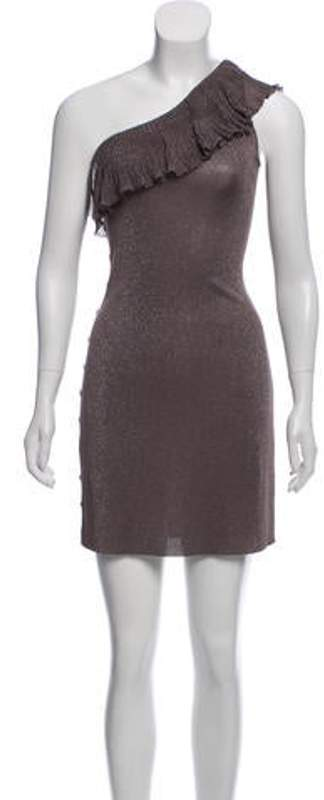 Azzaro One-Shoulder Metallic Mini Dress Mauve One-Shoulder Metallic Mini Dress