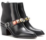 Fendi Embellished leather ankle boots